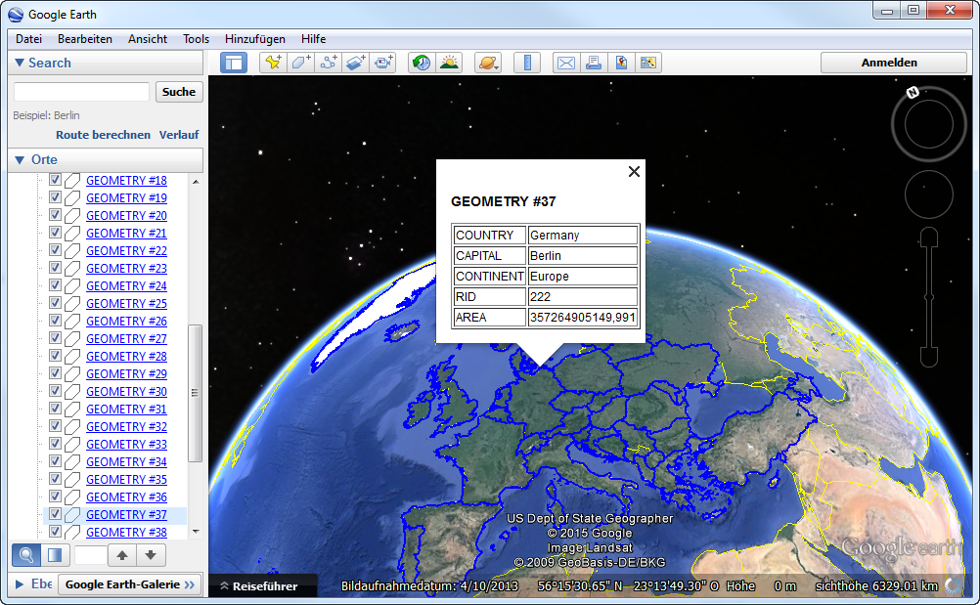 Goolge Earth view of Oracle spatial data