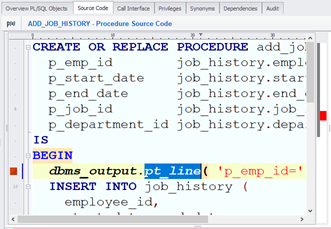 PL/SQL source code editor
