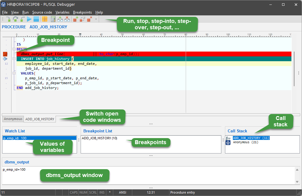 KeepTool Enterprise - PL/SQL Debugger