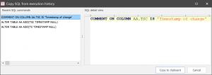 SQL execution history